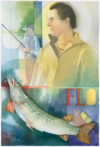 Illustration Aquarell Angler