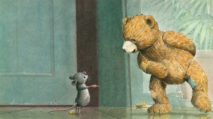 alter Teddy und Maus, Kinderbuchillustration