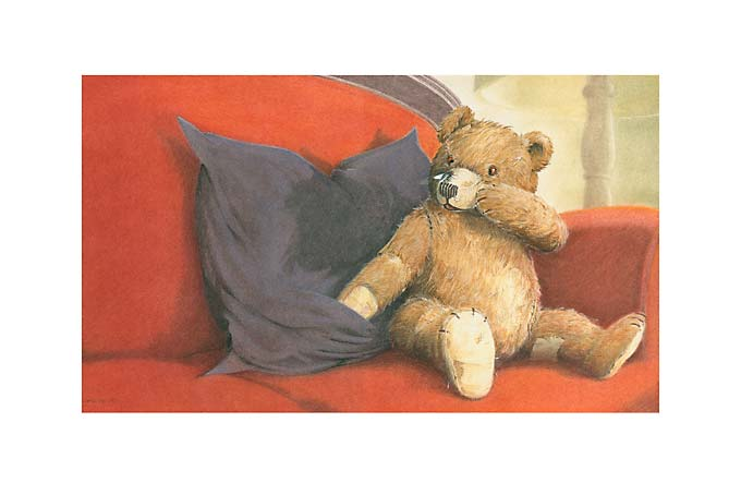 Kinderbuchillustration Teddy mit Fliege, Pastell Illustration